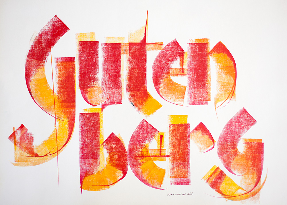 Roller calligraphy by Mark Simonson, 2013.