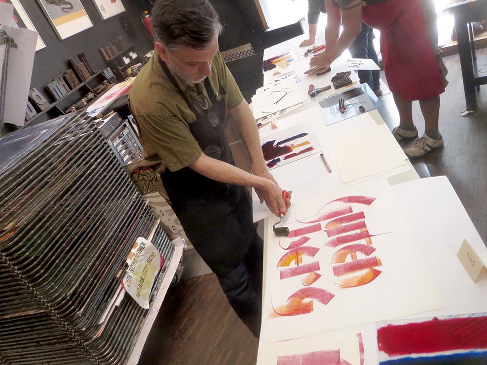 Mark Simonson doing roller calligraphy at the Gutenberg Museum in Mainz, Germany, spring 2013.