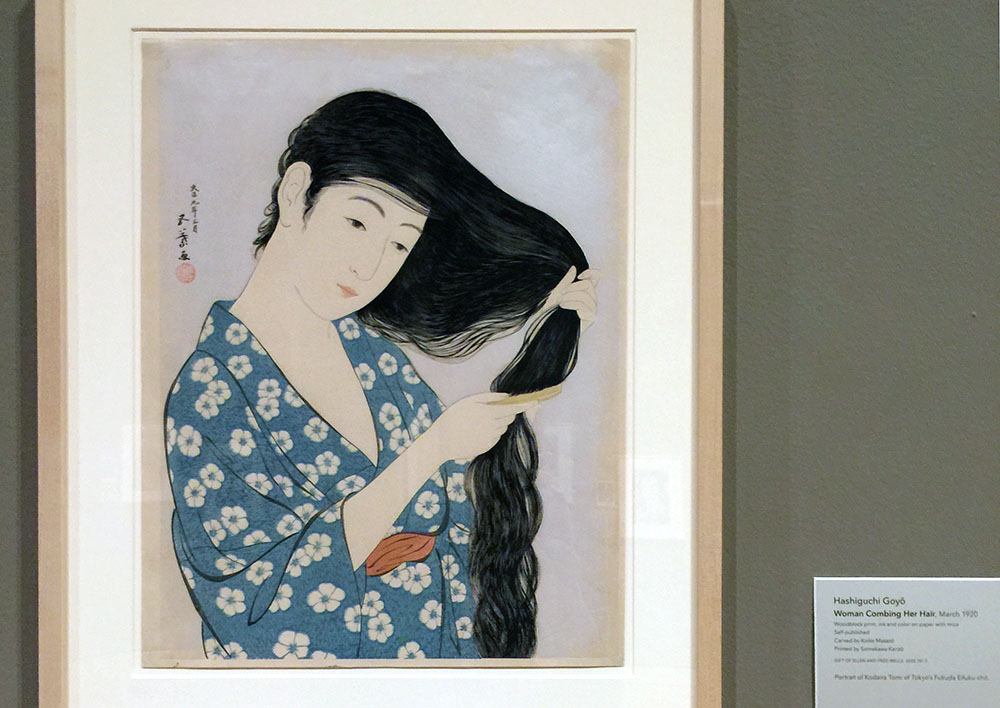 Woman Coming Her Hair, Japanese print from 1920.