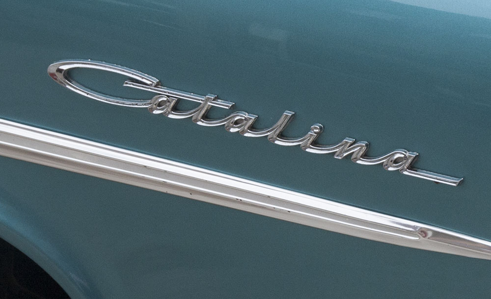 Nameplate on an automobile.