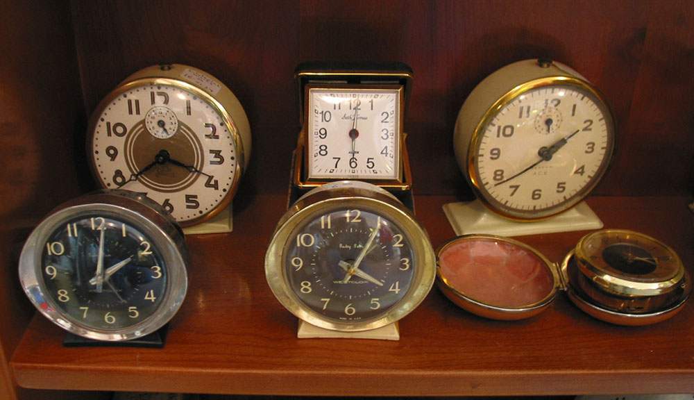 Photo of several antique clocks