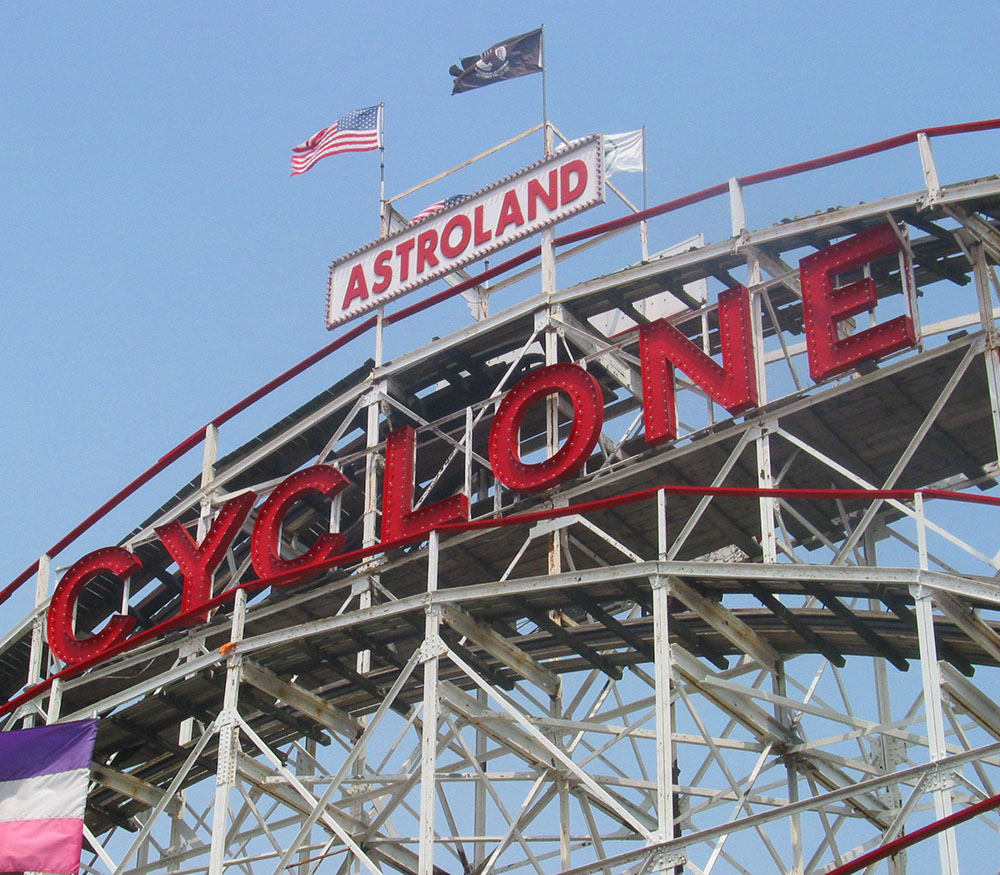 The Cyclone rollercoaster at Coney Island, NY.