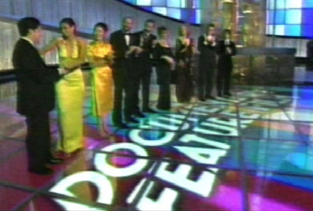 An example of the font Mostra as seen on the 77th Academy Awards broadcast