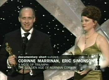 Cousin Eric accepting an Oscar.