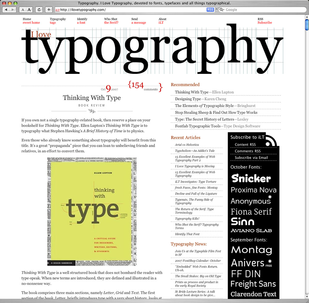 ILoveTypography.com's home page.