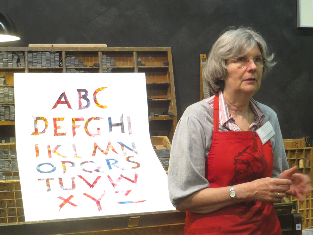 Gundela Kleinholdermann at the Gutenberg Museum in Mainz, Germany, spring 2013.