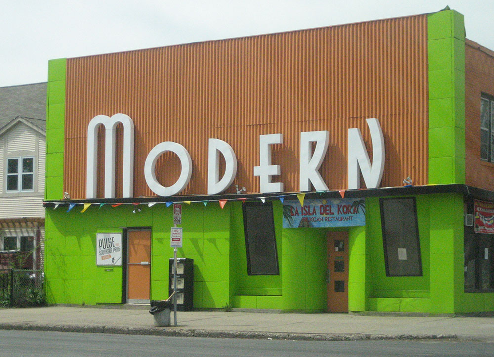 Big art deco letters at the Modern in Minneapolis