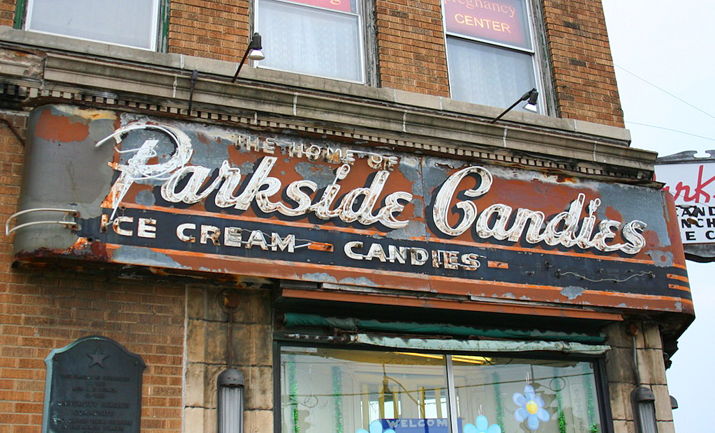 Parkside Candies sign in Buffalo, NY.