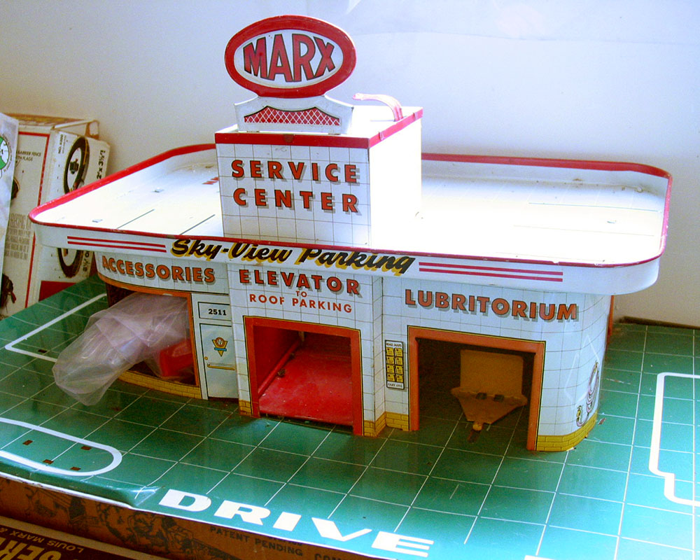 A Marx toy gas station.
