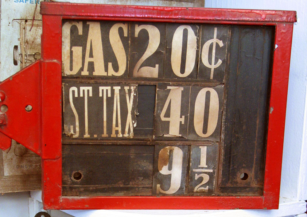 Old gas price sign.