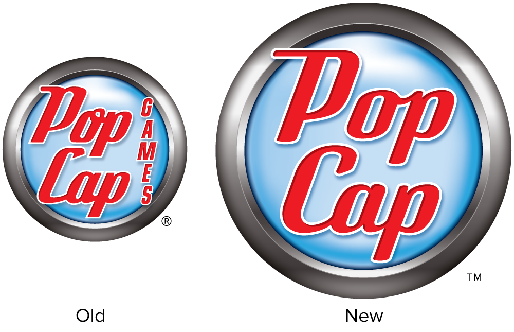 PopCap logo, old and new