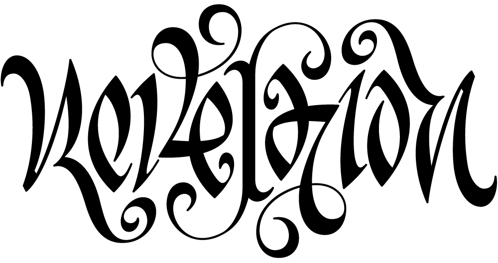 Ambigram of the word 'revelation'.
