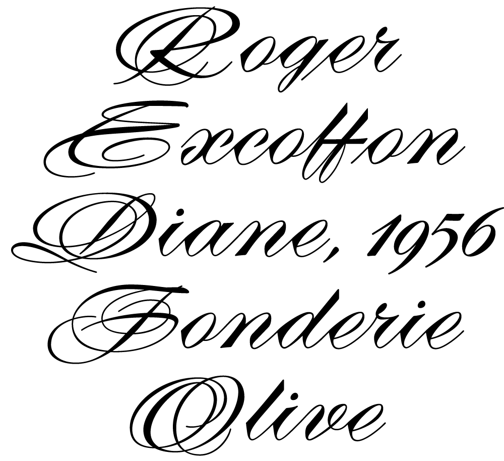 Roger Excoffon, Diane, 1956, Fonderie Olive.