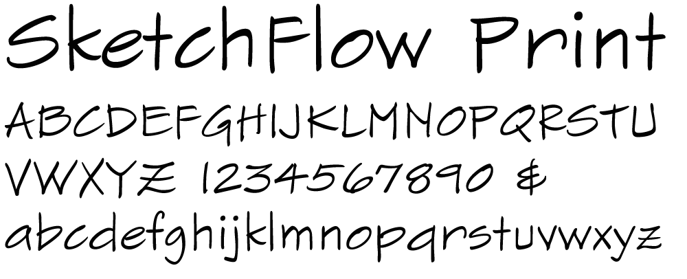 Sample of the SketchFlow Print font.
