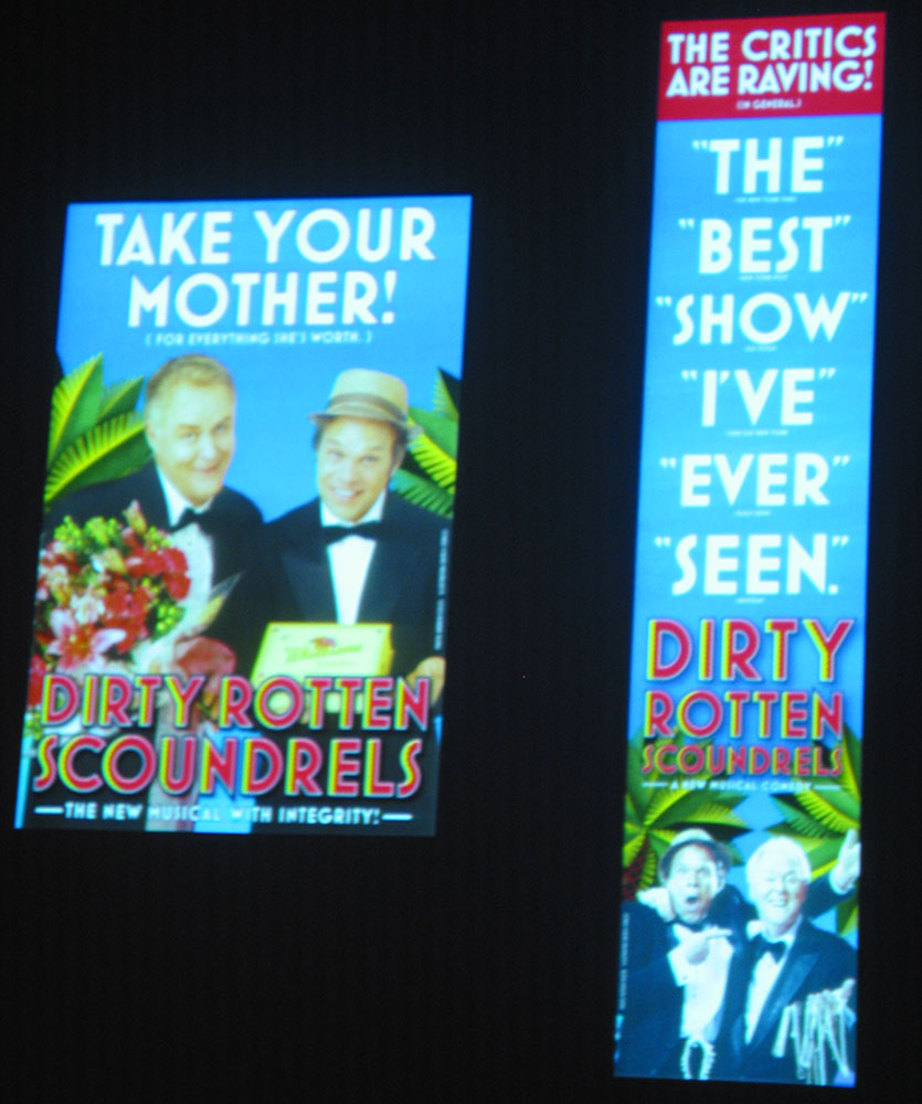 Dirty Rotten Scoundrels Broadway poster featuring Mostra Bold