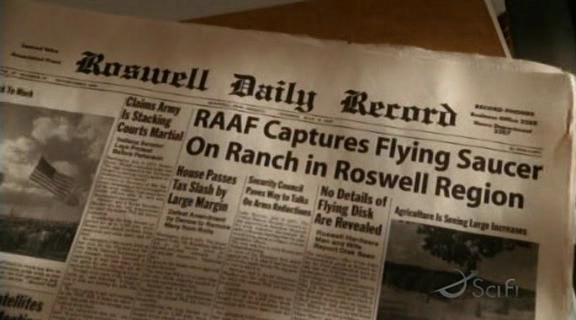 Prop newspaper from the science fiction tv series 'Taken'