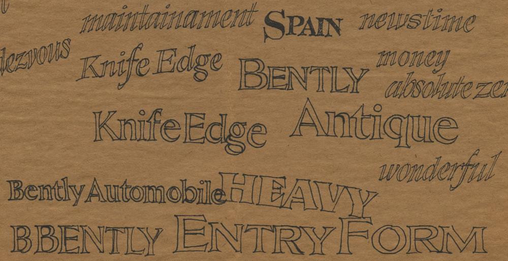 Random typeface concept sketches, 1980.
